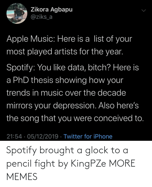 list of: Zikora Agbapu  @ziks_a  Apple Music: Here is a list of your  most played artists for the year.  Spotify: You like data, bitch? Here is  a PhD thesis showing how your  trends in music over the decade  mirrors your depression. Also here's  the song that you were conceived to.  21:54 · 05/12/2019 · Twitter for iPhone Spotify brought a glock to a pencil fight by KingPZe MORE MEMES