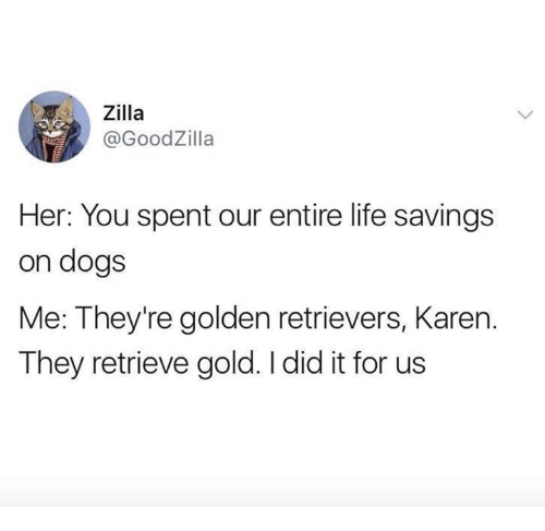 Dogs, Life, and Her: , Zilla  @GoodZilla  Her: You spent our entire life savings  on dogs  Me: They're golden retrievers, Karen.  They retrieve gold. I did it for us