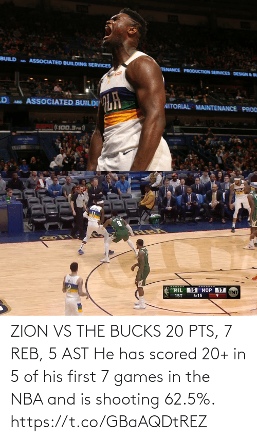 ast: ZION VS THE BUCKS 20 PTS, 7 REB, 5 AST  He has scored 20+ in 5 of his first 7 games in the NBA and is shooting 62.5%.  https://t.co/GBaAQDtREZ
