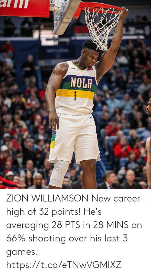 Shooting: ZION WILLIAMSON New career-high of 32 points!   He's averaging 28 PTS in 28 MINS on 66% shooting over his last 3 games. https://t.co/eTNwVGMIXZ