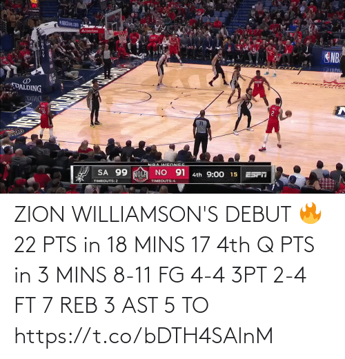 4Th: ZION WILLIAMSON'S DEBUT 🔥  22 PTS in 18 MINS 17 4th Q PTS in 3 MINS 8-11 FG 4-4 3PT 2-4 FT 7 REB 3 AST  5 TO  https://t.co/bDTH4SAlnM
