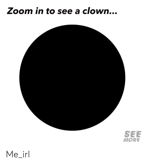 Zoom, Irl, and Me IRL: Zoom in to see a clown...  SEE  MORE Me_irl
