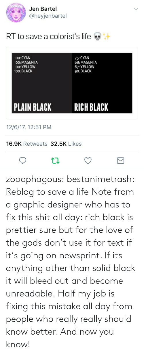 job: zooophagous:  bestanimetrash: Reblog to save a life  Note from a graphic designer who has to fix this shit all day: rich black is prettier sure but for the love of the gods don't use it for text if it's going on newsprint. If its anything other than solid black it will bleed out and become unreadable. Half my job is fixing this mistake all day from people who really really should know better. And now you know!