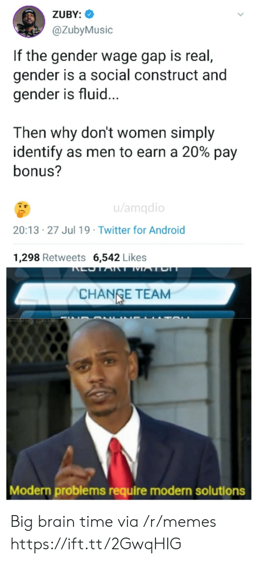 social construct: ZUBY:  @ZubyMusic  If the gender wage gap is real,  gender is a social construct and  gender is fluid...  Then why don't women simply  identify as men to earn a 20% pay  bonus?  u/amqdio  20:13 27 Jul 19 Twitter for Android  1,298 Retweets 6,542 Likes  LOTART MATCH  CHANGE TEAM  Modern problems require modern solutions Big brain time via /r/memes https://ift.tt/2GwqHIG