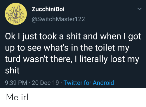 Maa: ZucchiniBoi  PVANA  MAA @SwitchMaster122  Ok I just took a shit and when I got  up to see what's in the toilet my  turd wasn't there, I literally lost my  shit  9:39 PM · 20 Dec 19 · Twitter for Android Me irl